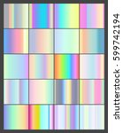 set of vector 20 holographic... | Shutterstock .eps vector #599742194