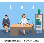 medicine interior with sitting... | Shutterstock .eps vector #599742251