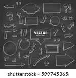 set of hand drawn doodle arrows.... | Shutterstock .eps vector #599745365