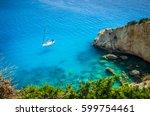 porto katsiki beach in lefkada... | Shutterstock . vector #599754461