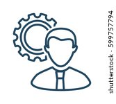 man and gear vector icon in... | Shutterstock .eps vector #599757794