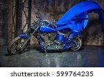 beautiful blue super bike in... | Shutterstock . vector #599764235