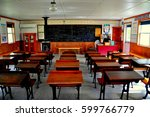 Small photo of Lancaster, Pennsylvania - October 18, 2015: Interior of the Willow Lane one room Amish school house at the Amish Farm and House Museum *