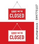vector closed sign set | Shutterstock .eps vector #599775107