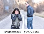 young couple braking up and... | Shutterstock . vector #599776151