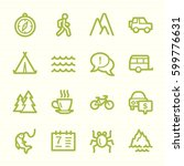 travel web icons.  vacation and ... | Shutterstock .eps vector #599776631