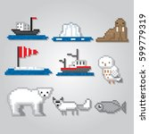 arctic icons set. north pole.... | Shutterstock .eps vector #599779319