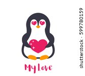 emoji with cute pinguin in love ... | Shutterstock .eps vector #599780159