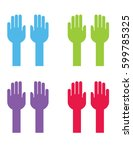 vector raised hands | Shutterstock .eps vector #599785325