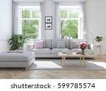 3d rendering. modern living... | Shutterstock . vector #599785574