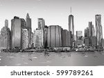 sketch of cityscape in new york ... | Shutterstock . vector #599789261