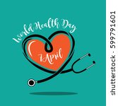 wold health day heart and... | Shutterstock . vector #599791601