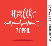 wold health day heartbeat and... | Shutterstock . vector #599791607