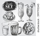 hand drawn set of different...   Shutterstock .eps vector #599795345