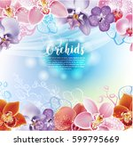 greeting card with orchids... | Shutterstock .eps vector #599795669