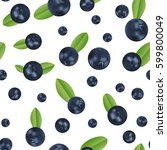 vector blueberry seamless... | Shutterstock .eps vector #599800049