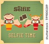 selfie poster. girl and boy... | Shutterstock . vector #599800289