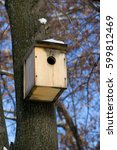 Small photo of A wooden birdhouse affixed to a tree trunk