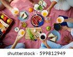 picnic blanket with healthy... | Shutterstock . vector #599812949