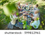 young and senior couples... | Shutterstock . vector #599812961