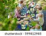 adults toasting with... | Shutterstock . vector #599812985