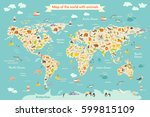 map animal for kid. continent... | Shutterstock .eps vector #599815109