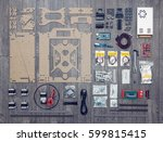 flat lay of electronic and... | Shutterstock . vector #599815415