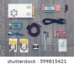 flat lay of electronic and... | Shutterstock . vector #599815421