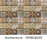 wall stone tile with a drawings.... | Shutterstock . vector #599818205