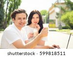 business couple working at... | Shutterstock . vector #599818511