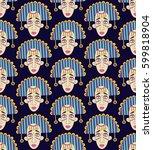 funny ethnic doodle portrait of ...   Shutterstock .eps vector #599818904