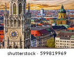 munich architectural sunset... | Shutterstock . vector #599819969