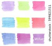 set of watercolor stain. spots... | Shutterstock .eps vector #599821511