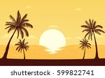 silhouette palm tree on beach... | Shutterstock .eps vector #599822741