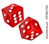 Red Dices  Isolated Objects...