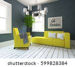 blue living room interior with... | Shutterstock . vector #599828384