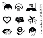 icon and symbol set black... | Shutterstock .eps vector #599855375