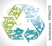 recycling symbol with... | Shutterstock .eps vector #59986270