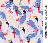 seamless pattern with exotic... | Shutterstock .eps vector #599866031