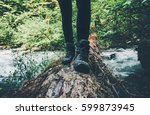 feet trekking boots traveler... | Shutterstock . vector #599873945