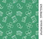 medicine seamless pattern... | Shutterstock .eps vector #599875565
