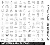 100 woman health icons set in... | Shutterstock .eps vector #599879171