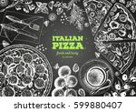 italian pizza top view frame.... | Shutterstock .eps vector #599880407
