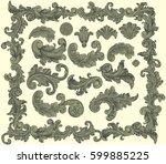 victorian baroque floral... | Shutterstock .eps vector #599885225