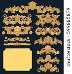 victorian baroque floral...   Shutterstock .eps vector #599885879