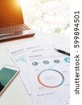 modern white office desk white... | Shutterstock . vector #599894501