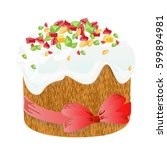 easter cake  eggs and willow... | Shutterstock .eps vector #599894981