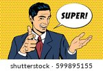 vector business man telling... | Shutterstock .eps vector #599895155