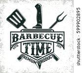 vintage barbecue restaurant... | Shutterstock .eps vector #599902895