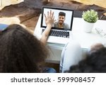 child video chatting over a... | Shutterstock . vector #599908457